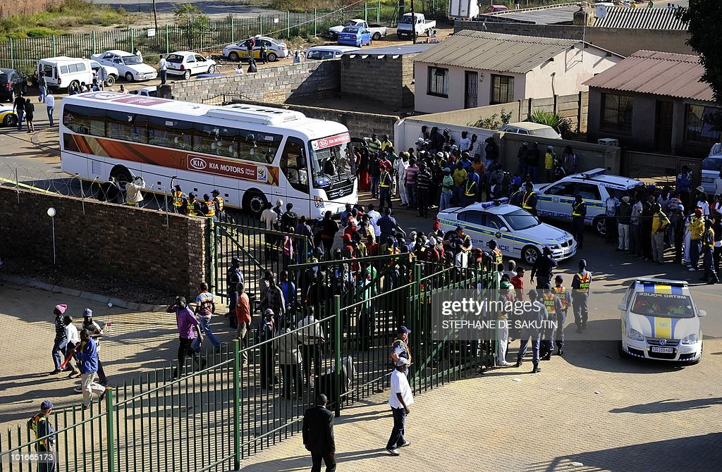 The bus carrying Nigeria's football team arrives at Makhulong stadium prior to their international friendly football match against North Korea on June 6, 2010 in Tembisa . The 2010 FIFA World Cup football championship is due to take place in South Africa from June 11 to July 11 of 2010.