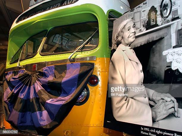 The bus made famous by civil rights pioneer Rosa Parks sits on display draped with mourning bunting October 25 2005 at The Henry Ford Museum in...