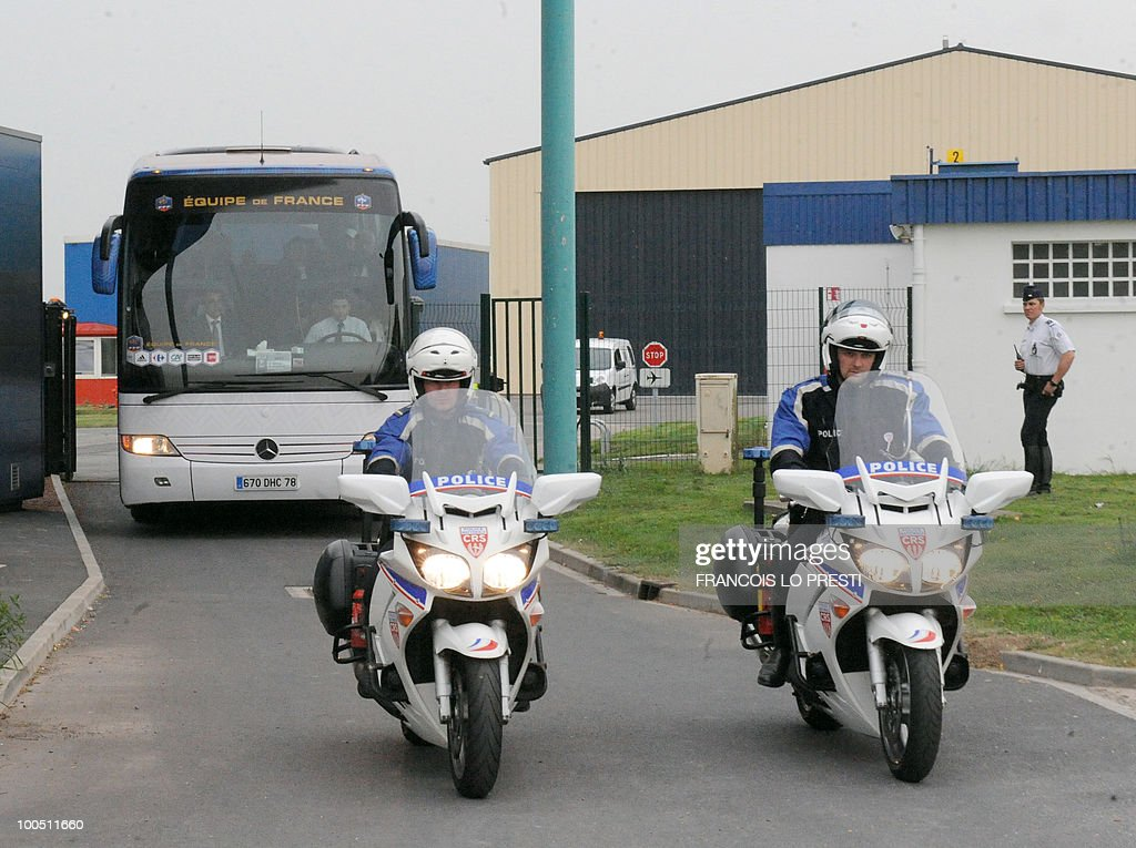 The bus of the French football national team leaves the Valenciennes airport on May 25, 2010 and heads to Lens where France is to play against Costa-Rica for a friendly game, on May 26, 2010. Domenech revealed a 23-man squad for the upcoming 2010 World Cup which included the Arsenal defender William Gallas who is recovering from a calf injury, however the Frenchman said that until June 1 - when all federations must submit their final teams to FIFA - nothing was definitive.