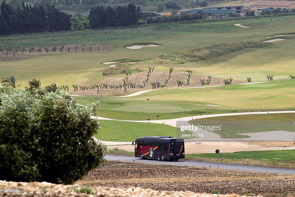 The bus of the German team is seen on the Verdura Golf and Spa Resort where the Geman National Football Team stays for training on May 15, 2010 in Sciacca, Italy.