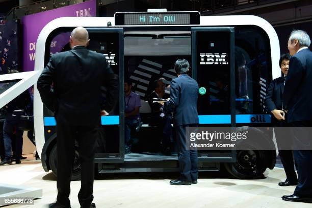 The bus 'Olli' an autonomous transportation system is presented at the IBM stand at the CeBIT 2017 Technology Trade Fair on March 20 2017 in Hanover...