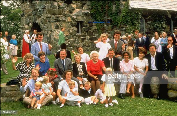 The Bush family including VP George Bush's mother Dorothy gather for a group portrait outside St Ann's Church