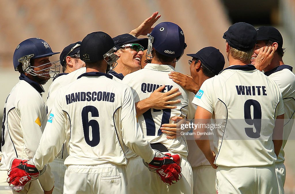 The Bushrangers celebrate the dismissal of Peter Forrest of the Bulls during day four of the Sheffield Shield match between the Victorian Bushrangers and the Queensland Bulls at Melbourne Cricket Ground on February 21, 2013 in Melbourne, Australia.