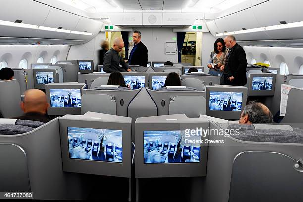 The business class area onboard an Airbus A350XWB test plane at Paris Charles de Gaulle Airport before making its way to Munich on February 27 2015...