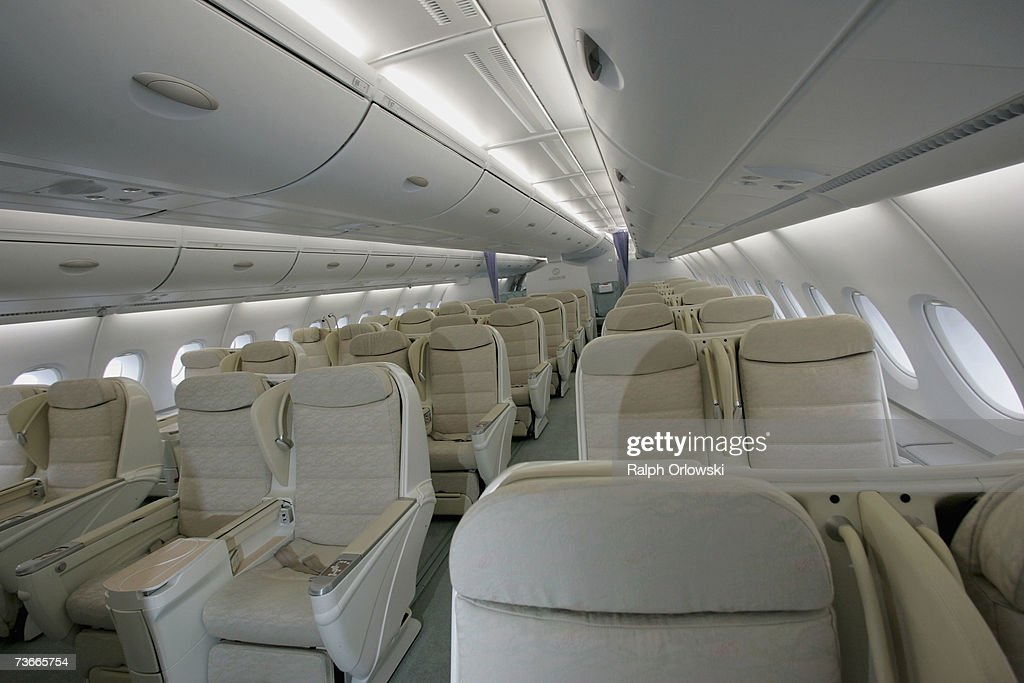 The business class section in an Airbus A380 is pictured at Frankfurt airport March 22, 2007 in Frankfurt, Germany. The 555-seat double-decker A380 returned from a test flight of Lufthansa and Airbus from JFK International Airport to test airport function and compatibility of the world's largest passenger aircraft.