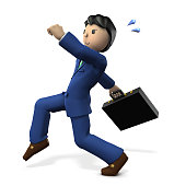 The businessman escaped secretly. 3D illustration