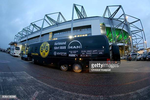 The busses of Moenchengladbach and Dortmund stand in front of the stadium prior to the Bundesliga match between Borussia Moenchengladbach and...