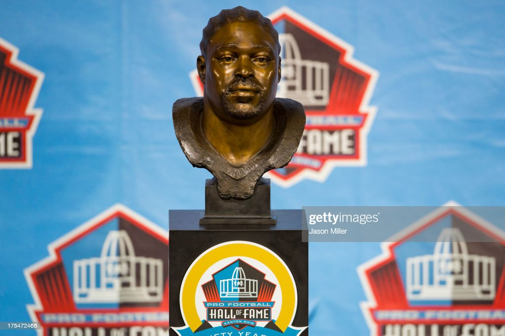 The bust of former defensive tackle Warren Sapp of the Tampa Bay Buccaneers is displayed during the NFL Class of 2013 Enshrinement Ceremony at Fawcett Stadium on Aug. 3, 2013 in Canton, Ohio.