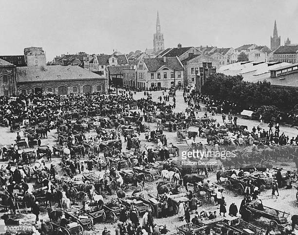 The busy market square in the port of Memel shortly after Lithuania's cession of the town to Nazi Germany in March 1939