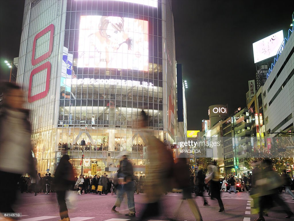 The busy Shibuya intersection in Tokyo Japan : Stock Photo