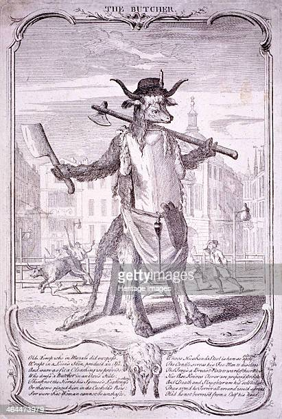 'The butcher' 1740 the scene is Smithfield by St Bartholomew's Hospital London 1740 In the foreground stands an ox skin arranged in an upright...