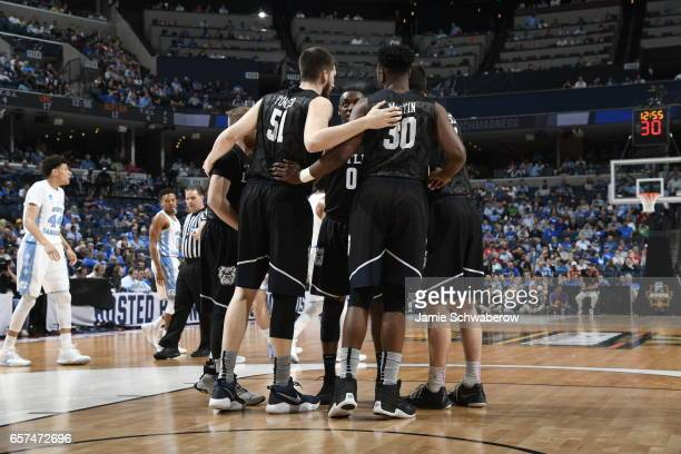 The Butler Bulldogs huddle during a game against the North Caroline Tar Heels during the 2017 NCAA Men's Basketball Tournament at FedExForum on March...