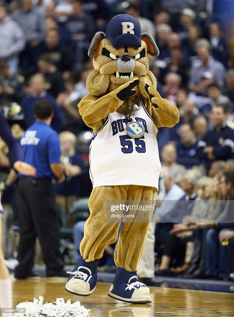The Butler Bulldogs mascot walks on the court in the game against Purdue Boilermakers during the 2013 Crossroads Classic at Bankers Life Fieldhouse on December 14, 2013 in Indianapolis, Indiana.