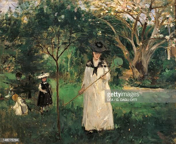 The butterfly hunt by Berthe Morisot oil on canvas 46x56 cm Paris Musée D'Orsay