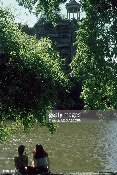 The ButtesChaumont park in Paris France The ButtesChaumont Park in the 19th district of Paris lakeside