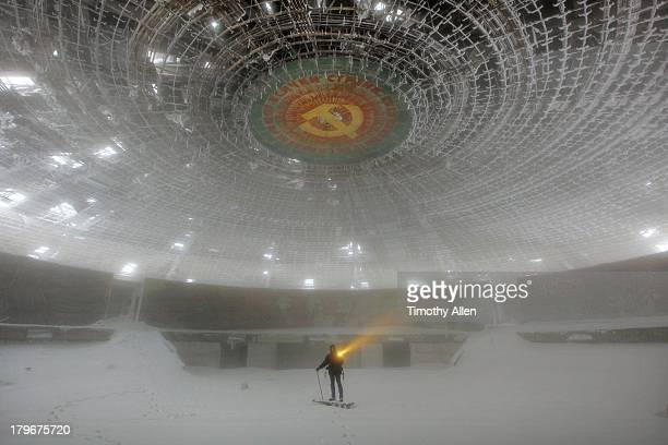 The Buzludzha Monument auditorium in snow