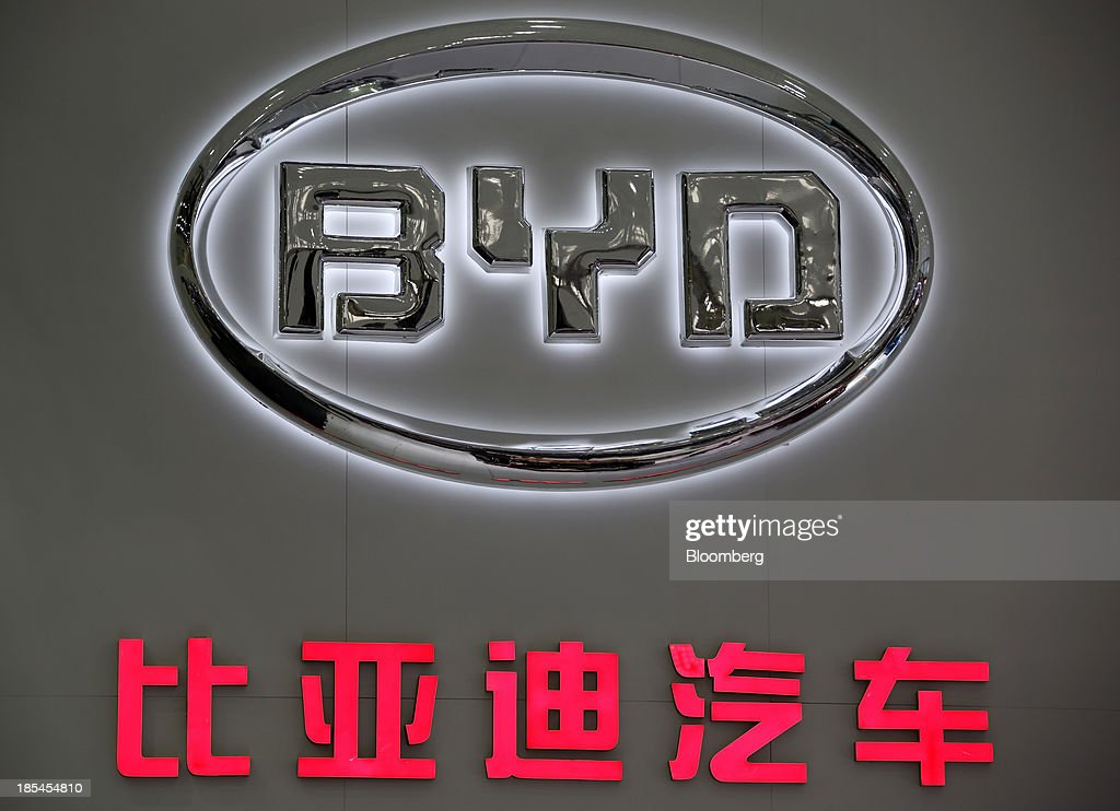 The BYD Co. logo is displayed at the Wuhan Motor Show 2013 in Wuhan, China, on Saturday, Oct. 19, 2013. The show will be held through Oct. 23. Photographer: Tomohiro Ohsumi/Bloomberg via Getty Images