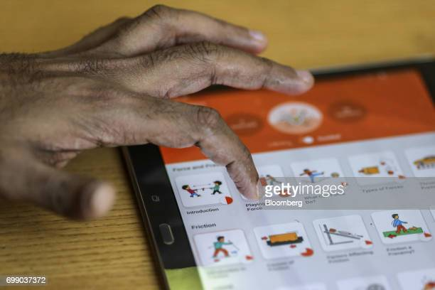 The BYJU'S learning app developed by Think and Learn Pvt is demonstrated on a tablet at the company's headquarters in Bengaluru India on Wednesday...