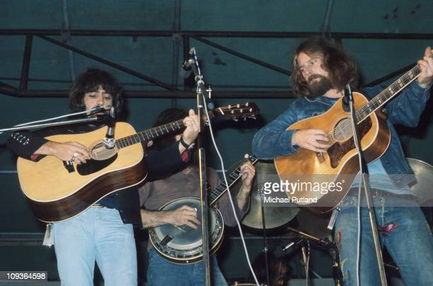 The Byrds perform on stage at Lincoln Festival 24th July 1971 LR Clarence White Roger McGuinn