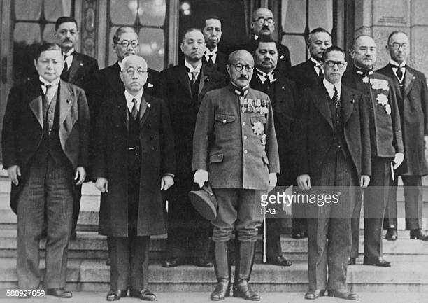 The cabinet of Japanese Prime Minister Hideki Tokyo Tokyo Japan 1943 From left to right Minister of Agriculture Hiroya Ino Minister of Education...