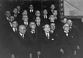 The cabinet of Japanese Prime Minister Ichiro Hatoyama Japan circa 1955 From left to right State Minister Tadao Oasa Prime Minister Hatoyama and...