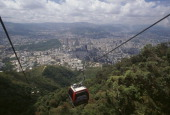 The cable car in El Avila National Park with the city seen from above Caracas Venezuela