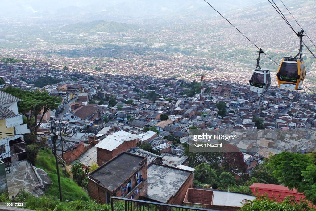 The cable cars in use in the city slums on January 5, 2013 in Medellin, Colombia. The notorious slums of Medellin have gone through urban and educational projects to improve the quality of life for its residence.