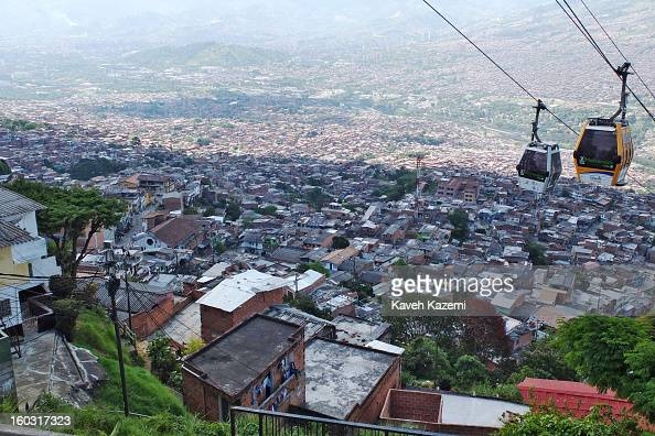 The cable cars in use in the city slums on January 5 2013 in Medellin Colombia The notorious slums of Medellin have gone through urban and...