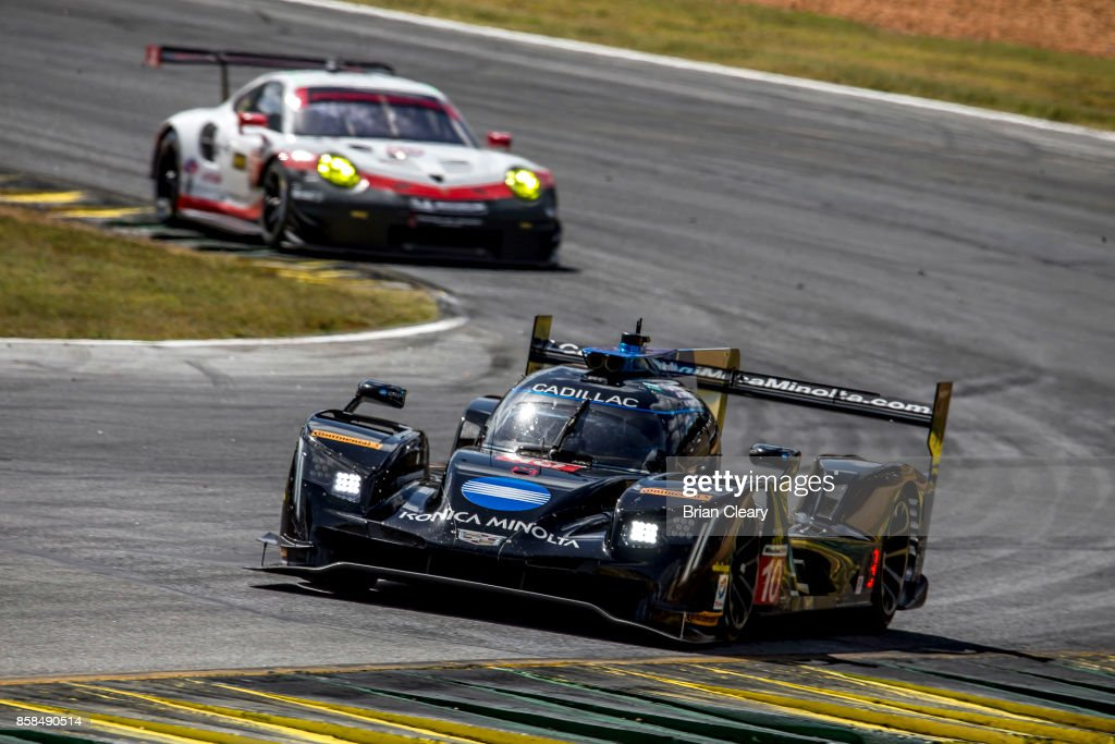 The #10 Cadillac DPi of Ricky Taylor, Jordan Taylor, and Ryan Hunter-Reay races on the track during practice for the Motul Petit Le Mans at Road Atlanta on October 6, 2017 in Braselton, Georgia.