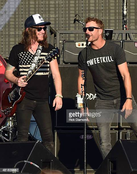The Cadillac Three's band member Jaren Johnston is joined by Dierks Bentley at Country Thunder In Twin Lakes Wisconsin Day 2 on July 24 2015 in Twin...