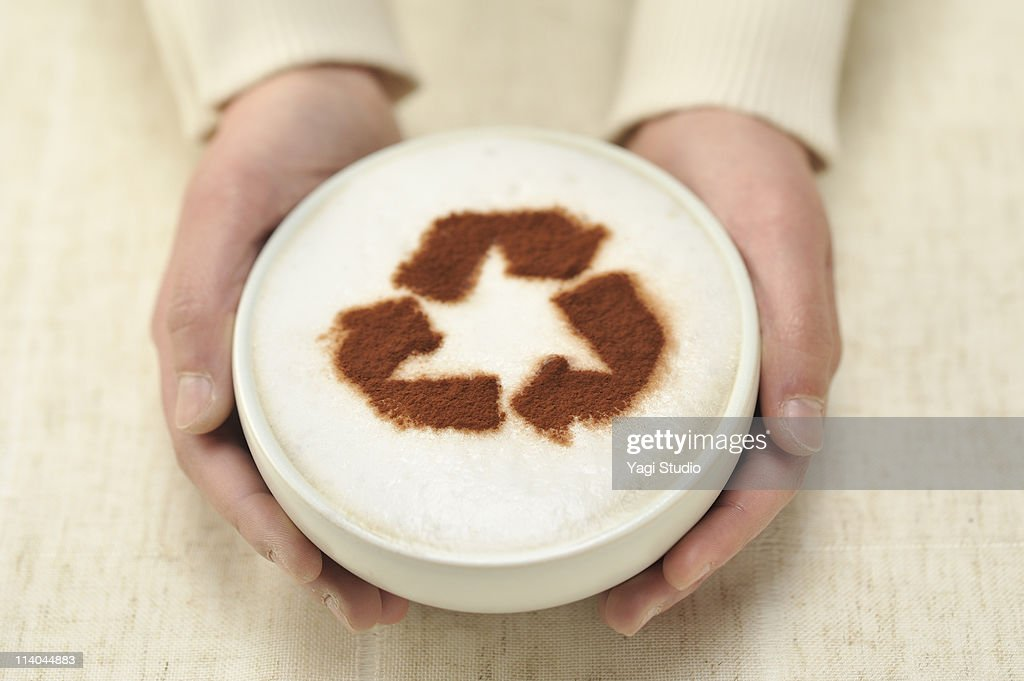The cafe au lait which a recycling mark is on
