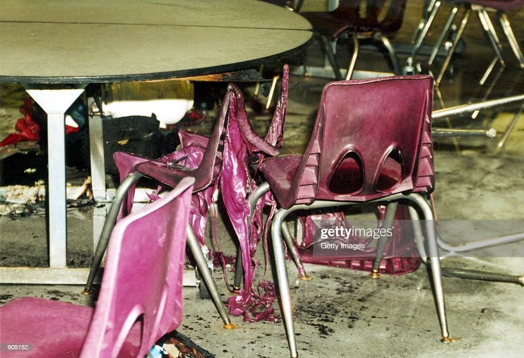 The cafeteria after the wake of bombs and bullets from the Columbine ...: www.gettyimages.com/detail/news-photo/the-cafeteria-after-the-wake...