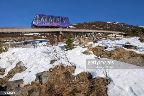 The Cairngorm Railway on lower slopes near terminus Cairngorm mountains Glenmore Scotland United Kingdom