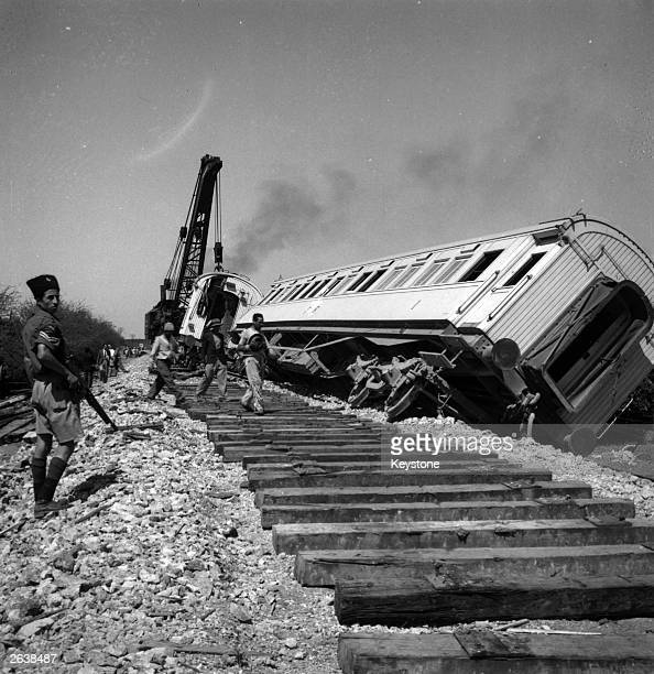 The CairoHaifa troop train blown up by Jewish terrorists near Rehovot Southern Palestine killing five British soldiers and six others and injuring 40