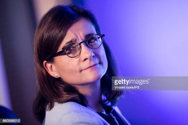 The Caisse des Depots CFO Virginie Chapron du Jeu holds a press conference to announce its 2016 annual results on March 30 2017 in Paris France The...
