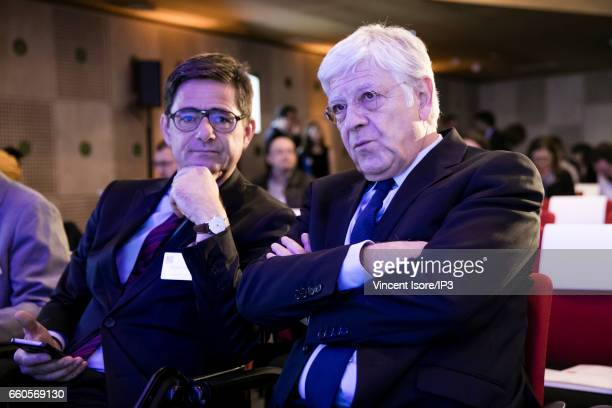 The Caisse des Depots General Manager Pierre Rene Lemas and Public Investment Bank General Manager Nicolas Dufourcq attend a press conference of La...