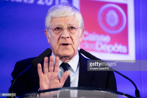 The Caisse des Depots General Manager Pierre Rene Lemas holds a press conference to announce its 2016 annual results on March 30 2017 in Paris France...
