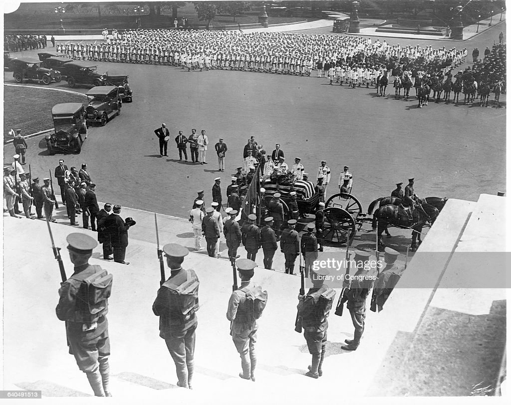 The caisson bearing President Harding's coffin arrives at the steps of the Capitol Building having been wheeled from the White House Washington DC