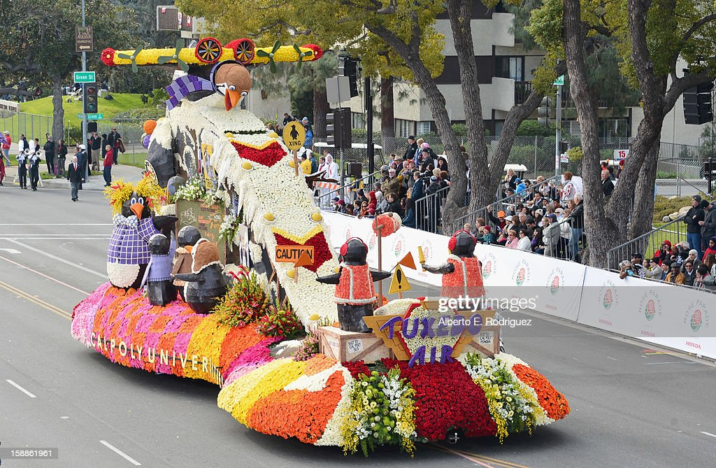 The Cal Poly Universities float participates in the 124th Tournamernt of Roses Parade on January 1, 2013 in Pasadena, California.