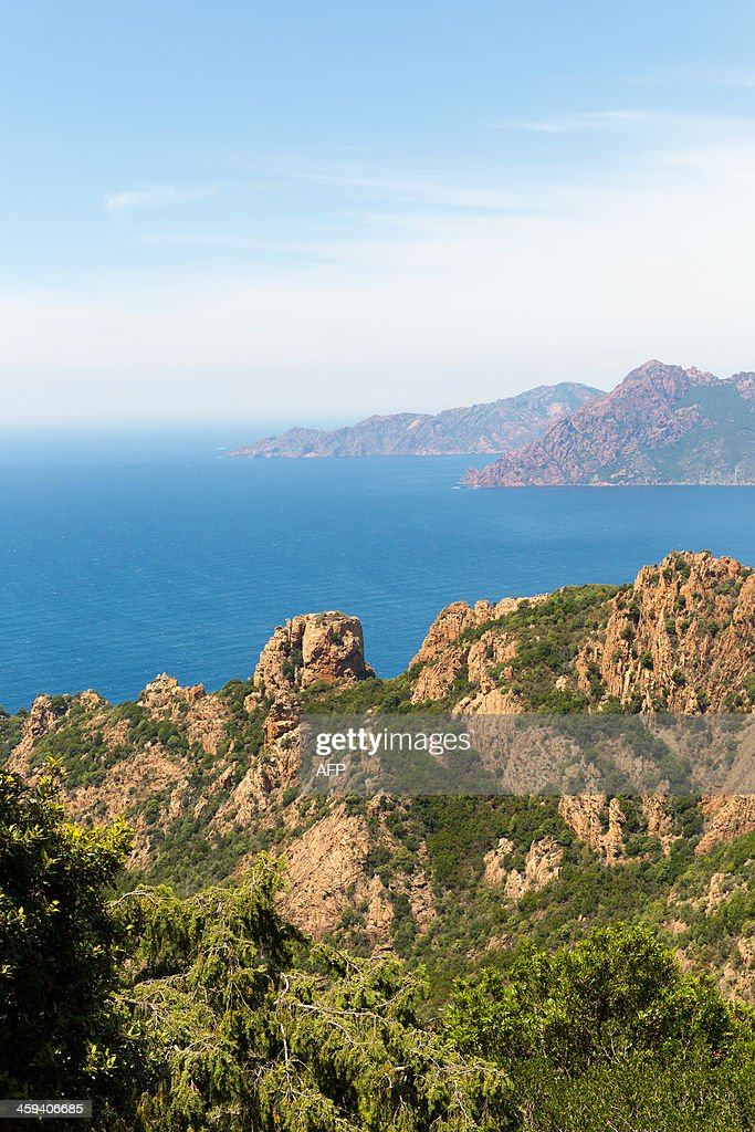 The Calanques de Piana near Porto are pictured on June 29 2013 on the French Mediterranean island of Corsica AFP PHOTO / PATRICE COPPEE