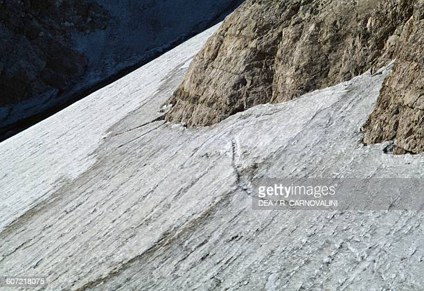 The Calderone glacier on the northern slope of the Corno Grande mountain Gran Sasso and Monti della Laga National Park Abruzzo Italy