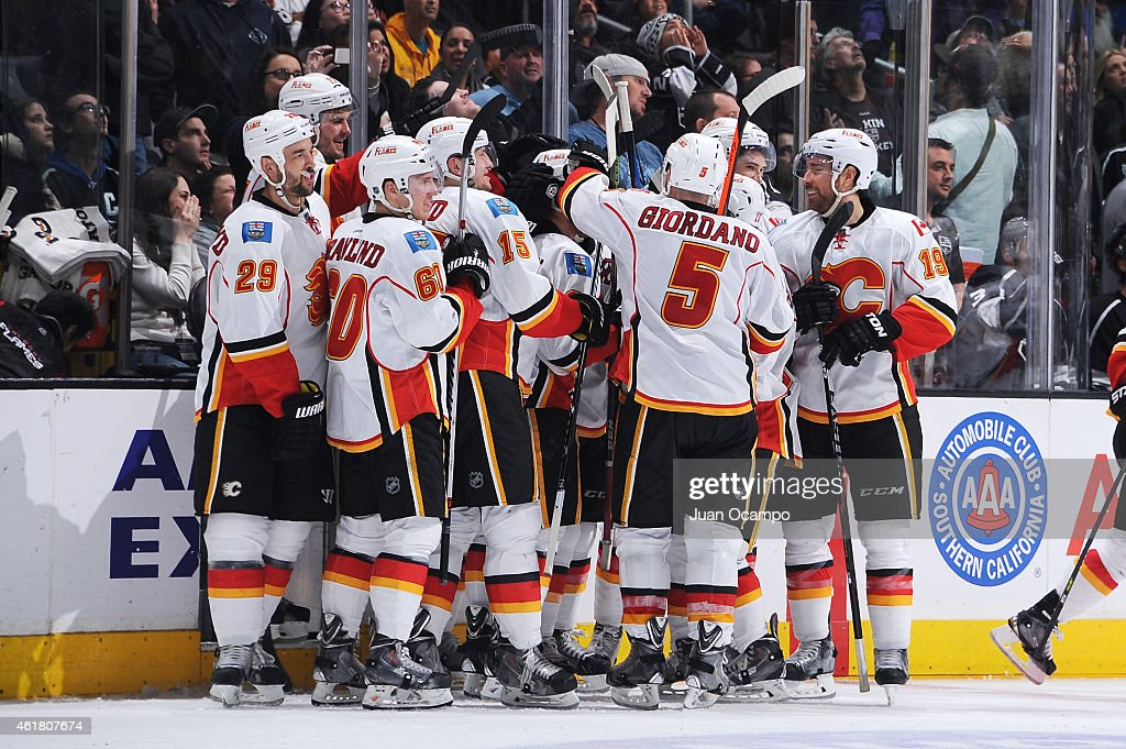 The Calgary Flames celebrate during a game against the Los Angeles Kings at STAPLES Center on January 19, 2015 in Los Angeles, California.