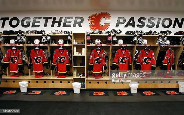 The Calgary Flames locker room sits ready before an NHL game against the Washington Capitals on October 30 2016 at the Scotiabank Saddledome in...