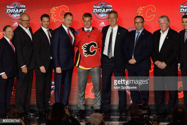The Calgary Flames select defenseman Juuso Valimaki with the 16th pick in the first round of the 2017 NHL Draft on June 23 at the United Center in...