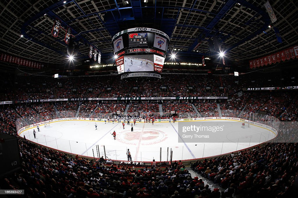 The Calgary Flames take on the Toronto Maple Leafs at Scotiabank Saddledome on October 30, 2013 in Calgary, Alberta, Canada.