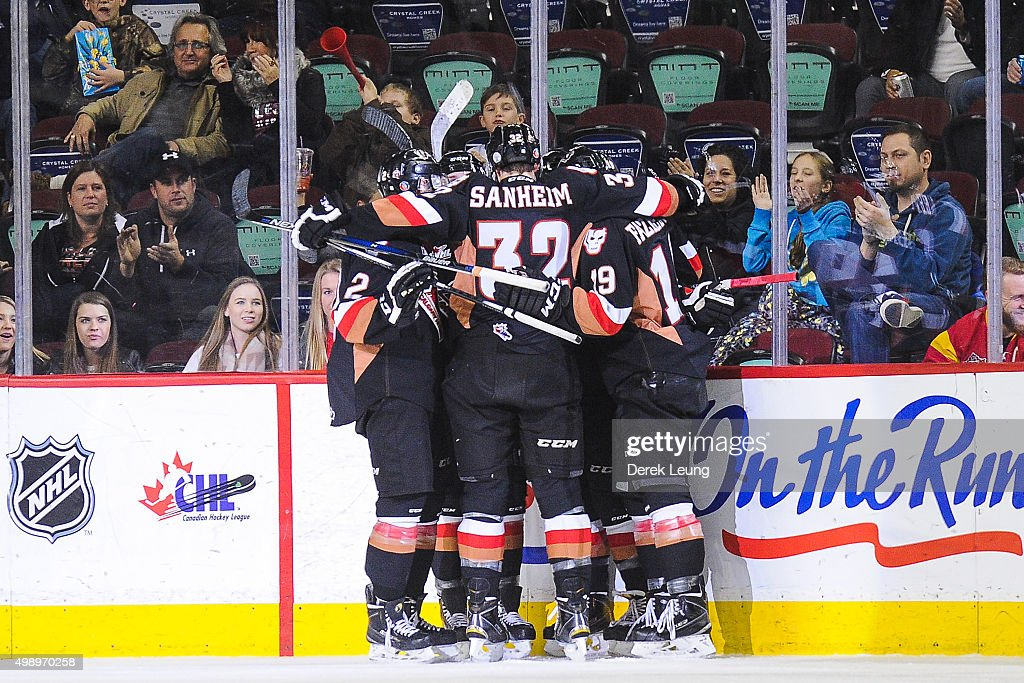 The Calgary Hitmen celebrate the goal of Jakob Stukel #10 against the Regina Pats during a WHL game at Scotiabank Saddledome on November 27, 2015 in Calgary, Alberta, Canada.