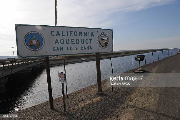 The California Aqueduct at Mendota California on March 11 2009 The Aqueduct carries water from the San JoaquinSacramento River Delta in the north to...