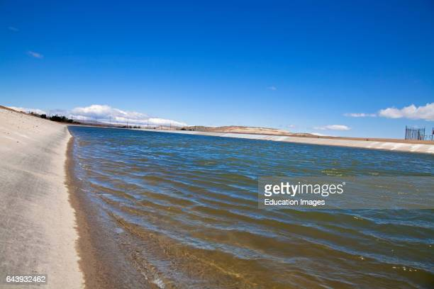 The California Aqueduct is the state's largest and longest water transport system Palmdale Los Angeles County California USA