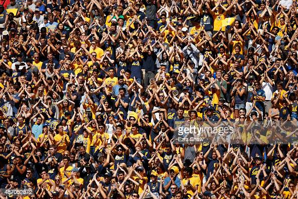 The California Golden Bears fans cheer on their team against the Grambling State Tigers at California Memorial Stadium on September 5 2015 in...