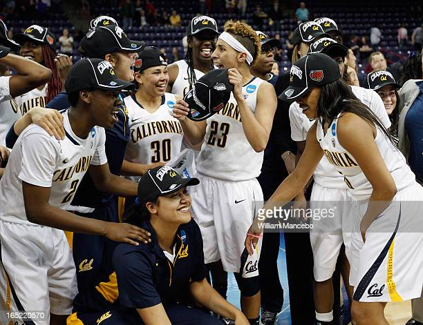 The California Golden Bears Women's Basketball Team celebrates after the game against the Georgia Lady Bulldogs during the NCAA Division I Women's...